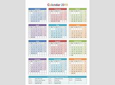 Free Editable USA 2019 Calendar PDF, Excel, Word Templates