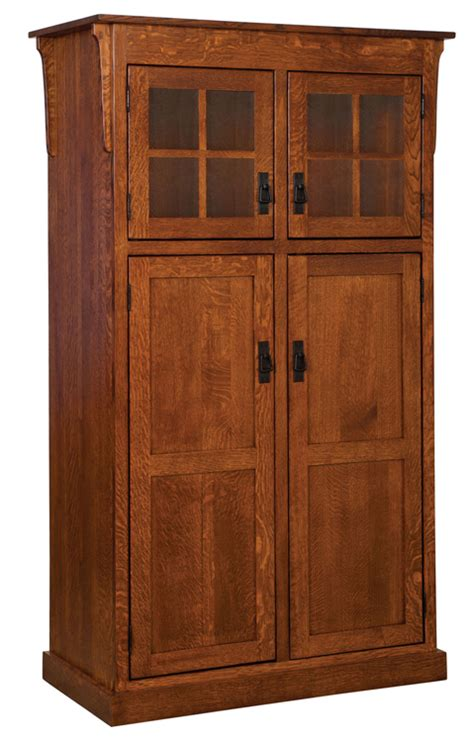 brown kitchen cabinets heritage mission 4 door pantry cabinet amish furniture 6421