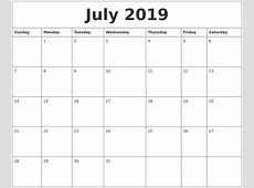 July 2019 Printable Calendar Pages