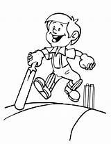 Coloring Cricket Batsman Happy Scribblefun Recent sketch template