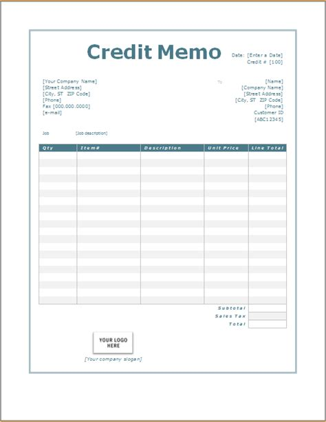 credit memo word excel templates