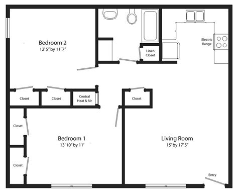 2 Bedroom 1 Bath Floor Plans by Unique Two Bedroom One Bath House Plans New Home Plans