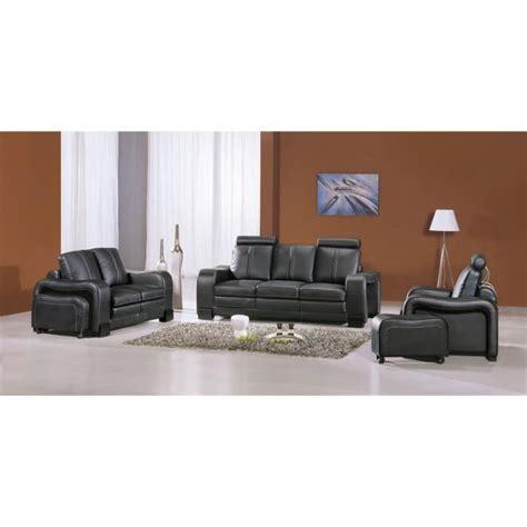 ensemble canape ensemble canapé cuir noir 3 2 1 places berlin achat