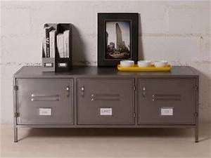 meuble tv design industriel scandinave c39est par ici With meuble bas de cuisine 120 cm 9 meubles de rangement industriel metal bois