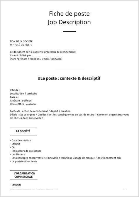 fiche de poste collaborateur de cabinet mod 232 le de descriptif de poste pour commercial