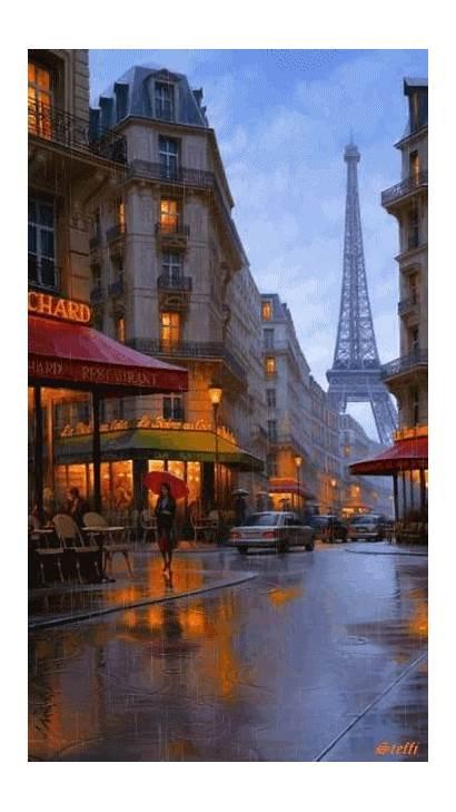 Paris Eiffel Rainy Street Tower Places France