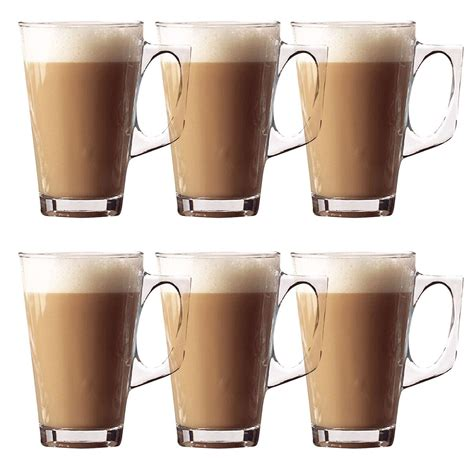 6 X 240ml Latte Glasses Tea Cappuccino Glass Tassimo Costa
