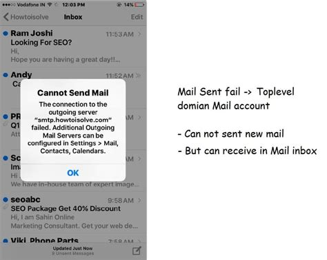cannot get mail iphone cannot send mail from iphone mail app outgoing server failed