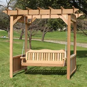 Tmp Outdoor Furniture Decorative Red Cedar Deluxe Arbor Outdoor Swing Set Pergola Swing Plans Images