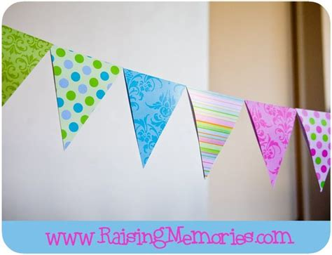 raising memories making  paper triangle banner bunting