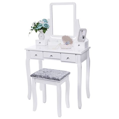 Cheap Dressing Tables With Mirror And Stool Vanity Set With Mirror Cushioned Stool Dressing Table