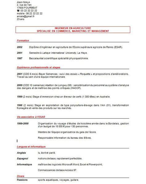 Des Modèles De Cv by Cv Curriculum Vitae Exemple Artere Adour Tigf