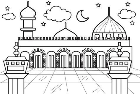 gambar masjid hitam putih untuk mewarnai belajarmewarnai
