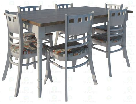 provence dining table and chairs 3d model provence dining table and chairs