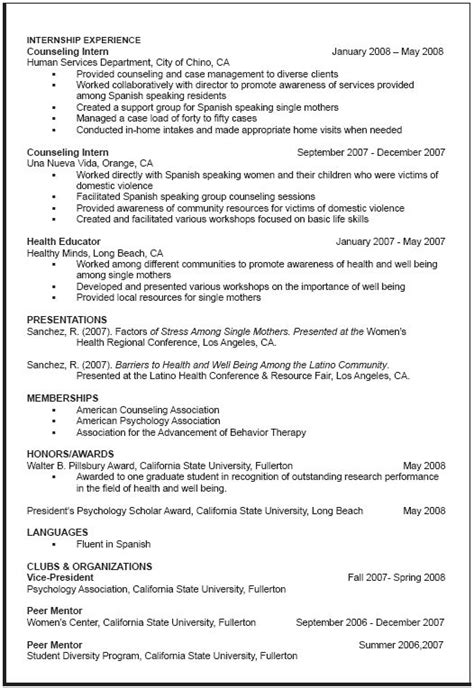 curriculum vitae sample graduate school resume