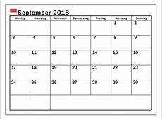 Kalender September 2018 zum Ausdrucken [PDF, Excel, Word