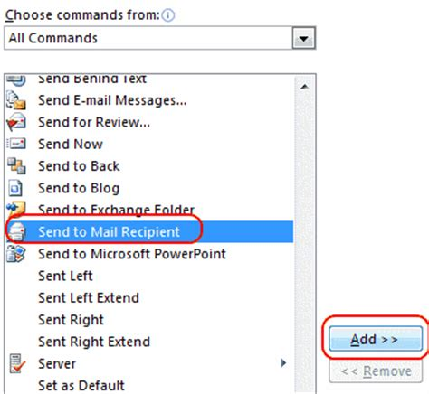 enable send  mail recipient option  excel word