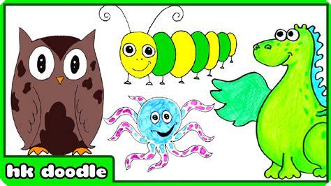 easy animal drawings  kids step  step drawing