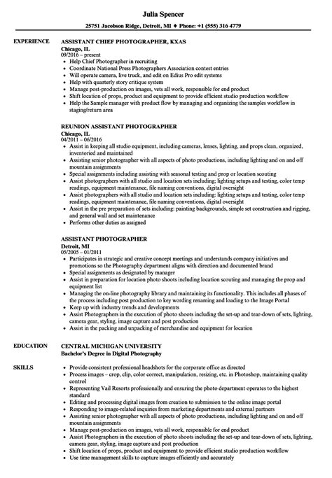 Photographer Resume by Photography Assistant Resume Vvengelbert Nl