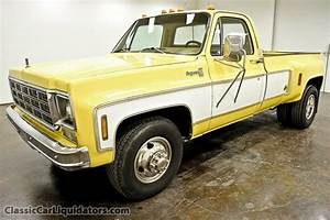 1977 Chevrolet C30 Cheyenne 1 Ton Dually Pickup  White Over Yellow  With Cab Lights