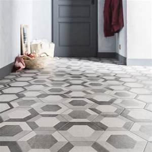 Carrelage Hexagonal Blanc : carrelage sol et mur gris blanc effet b ton time x ~ Premium-room.com Idées de Décoration