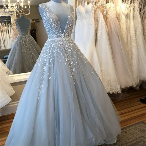light blue tulle niab18092 formal wedding dress size 6 s