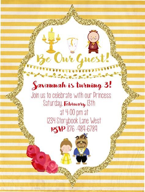 beauty   beast party invitation blowing