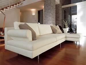 Divanetto moderno con penisola, piedi cromati, per salotto IDFdesign