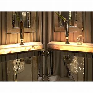 Italian Stainless Steel Onyx Marble LED Console Table