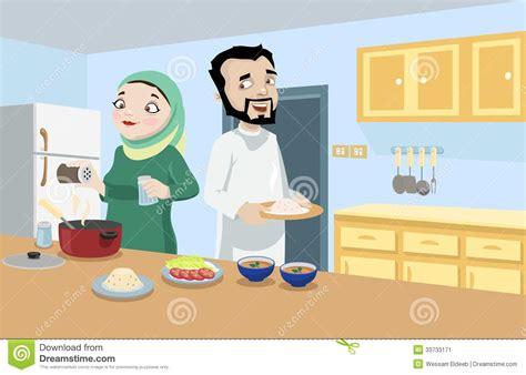 khaliji couple   kitchen stock image image