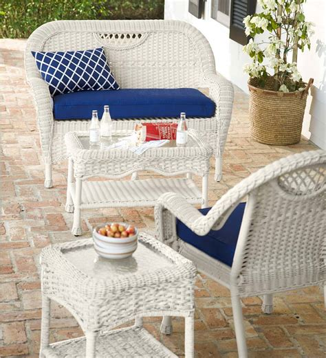 Outdoor Wicker Settee by Outdoor Wicker Settee Prospect Hill Plowhearth