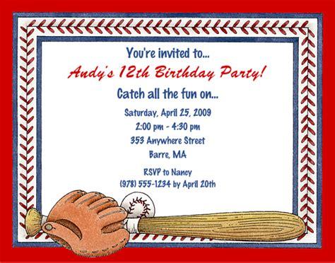 baseball birthday party invitation wording invitation