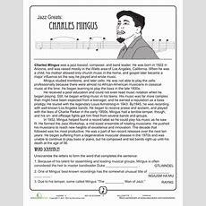 Jazz Greats Charles Mingus  Ans General  Music Worksheets, Charles Mingus, Music Education