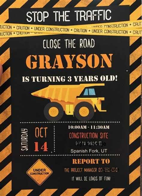 construction party games crafts favors  invitations