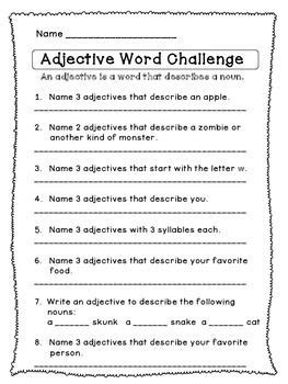 word challenge free worksheets and parts of speech on