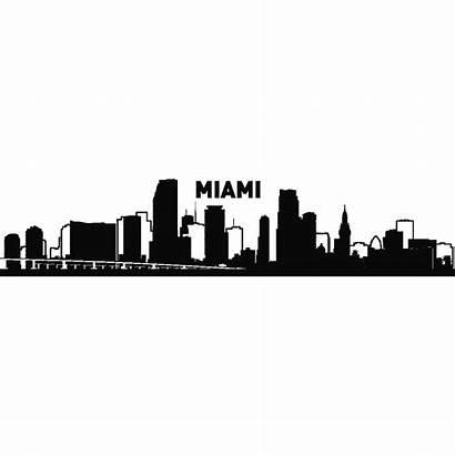 Skyline Miami Silhouette York Tattoo Clipart Sticker