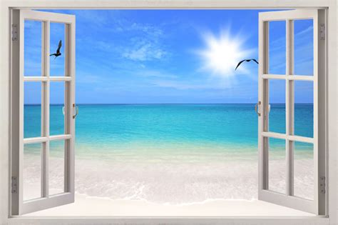 3d Window Ocean View Blue Sea Home Decor Wall Sticker: Sea 3D Exotic Ocean Window View Decal WALL STICKER Home