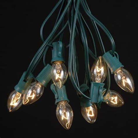 c7 green wire christmas light string sets novelty lights inc