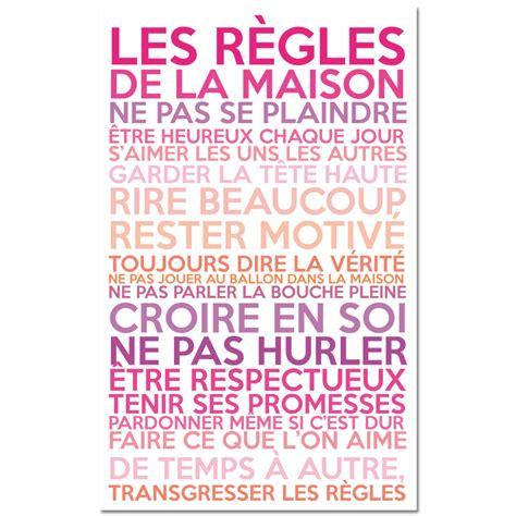 stickers regles de la maison sticker poster les r 232 gles de la maison couleurs girly stickers citations fran 231 ais ambiance