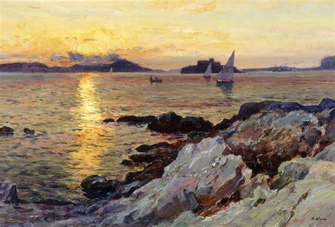 jean louis olive jean baptiste olive coucher de soleil sur les iles du