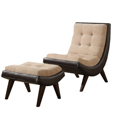 homesullivan brown vinyl tufted chair ottoman with peat