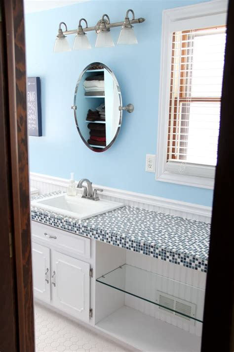 how to paint ceramic tile countertops how to paint tile countertops and our modern bathroom reveal