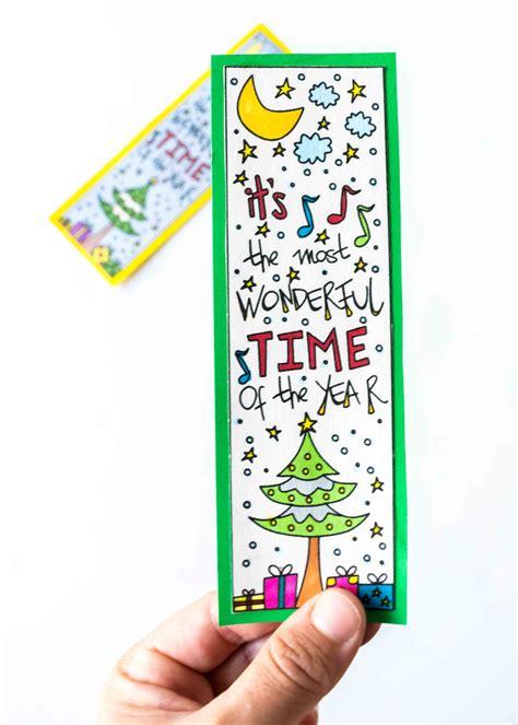 coloring christmas bookmarks  printable daydream  reality