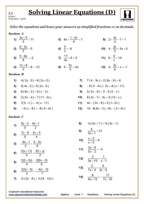 ks3 ks4 maths worksheets printable with answers year 7
