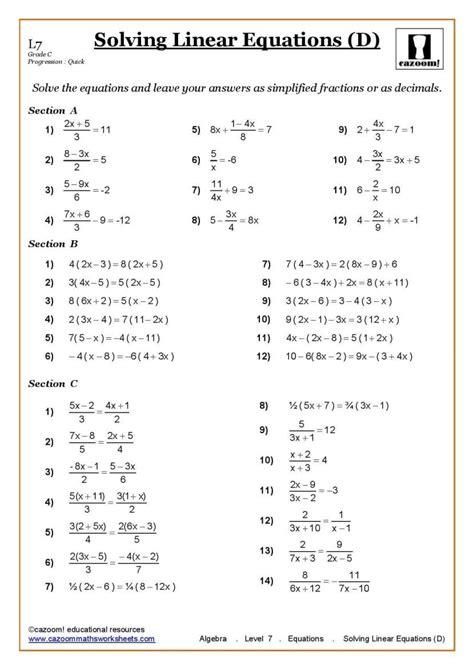 algebra worksheets year 7 printable ks3 ks4 maths worksheets printable with answers year 7