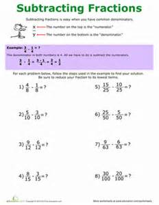 fractions 5th grade how to subtract fractions worksheet education