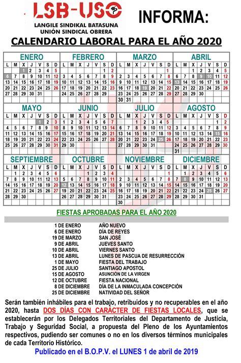 calendario laboral lsb uso