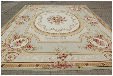 shabby chic floor l 10x14 pastel light green ivory aubusson area rug french