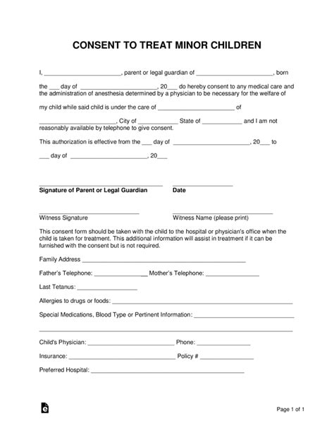 free printable medical consent form for grandparents medical treatment consent form for