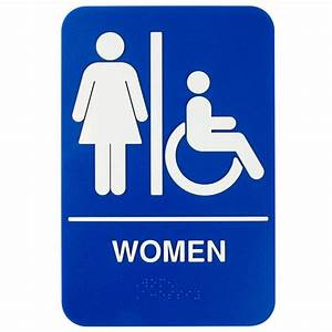 Ada women39s restroom sign with braille blue and white 9 for Women only bathroom sign